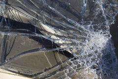 Smashed auto glass close up Royalty Free Stock Photos