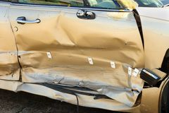 Smashed automobile door Royalty Free Stock Image