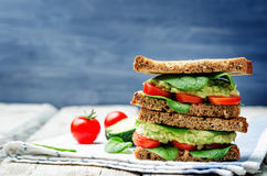 Smashed avocado spinach tomato grilled rye sandwich Stock Photos