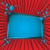 Smashed blank blue banner. Smashed blank blue banner over red background Royalty Free Stock Photography