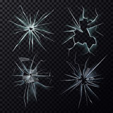 Smashed or broke window, screen or glass cracks. Set of  glass hole or screen cracks, smashed or broken window. Shattered isolated background of destruction Stock Photo