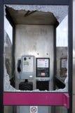 Smashed Broken Phone Box in Wokingham Royalty Free Stock Images