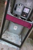 Smashed Broken Phone Box in Wokingham Royalty Free Stock Photo