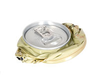 Smashed can on white background Royalty Free Stock Photos
