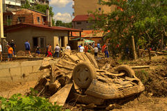 Smashed car in Flooding Bulgaria. These are the consequences of record rain that poured over the city of Varna,quarter Asparuchovo on June 19th, 2014.tidal wave Royalty Free Stock Image