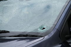 Smashed Car Windscreen. Royalty Free Stock Photography