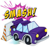 Smashed cars. Car accident with smash text Stock Photo