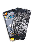 Smashed Cell Phone. A cell phone that was dropped off a 27th floor balcony, isolated on white background with clipping path royalty free stock photos