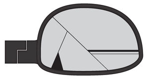 Smashed Chunky Car Side Mirror. A smashed chunky car side mirror isolated on a white background Stock Images