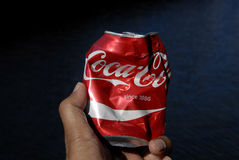 SMASHED COKE CAN Royalty Free Stock Image