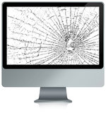 Smashed computer. Illustration of a broken computer with a crack on the monitor