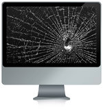 Smashed computer. Illustration of a broken computer with a crack on the monitor vector illustration
