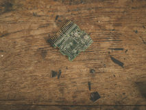 Smashed computer chip Royalty Free Stock Images
