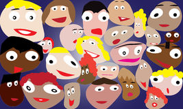 Smashed faces. A crowd of smashed faces. Happy and smiling people Royalty Free Stock Photos