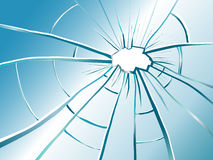 Smashed glass. Broken glass with many cracks and a big hole Royalty Free Stock Photography