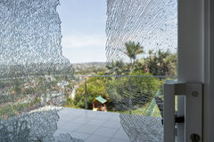 Smashed Glass Window Stock Photo