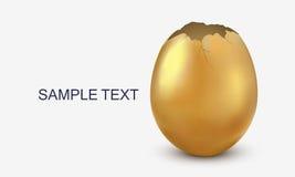 Smashed golden egg. Broken golden egg isolated on white Stock Images
