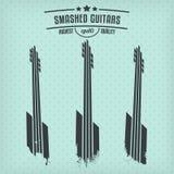 Smashed guitars. Set of minimalist smashed guitars Stock Photography