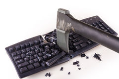 Smashed keyboard. Destroyed keyboard which will never work again Royalty Free Stock Image