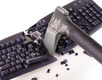 Smashed keyboard. Destroyed keyboard which will never work again Stock Photos