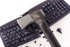 Smashed keyboard. Destroyed keyboard which will never work again Royalty Free Stock Photography