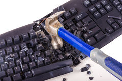 Smashed keyboard. Destroyed keyboard which will never work again Stock Photo
