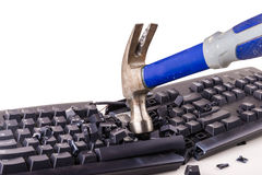 Smashed keyboard. Destroyed keyboard which will never work again Stock Image