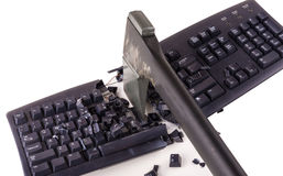 Smashed keyboard. Destroyed keyboard which will never work again Stock Images