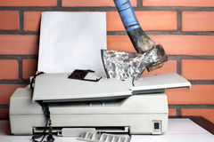 Smashed Office Printer Stock Image