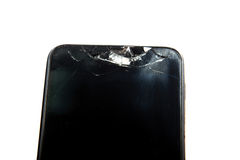 Smashed the phone isolated on white background Stock Photo
