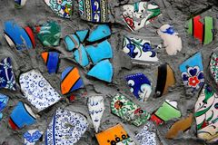 Smashed  pieces of faience Stock Photography