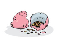 Smashed piggy bank. Vector illustration of a smashed pink ceramic piggy bank with coins inside. Freehand drawing converted to  graphics. Isolated on white Royalty Free Stock Photo