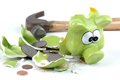 Smashed Piggybank-American. Smashed coinbank with american coins spilling out Royalty Free Stock Images