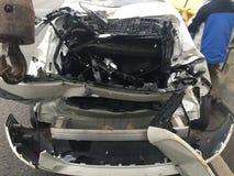 Smashed rear-end. Accident destroyed Crash royalty free stock image