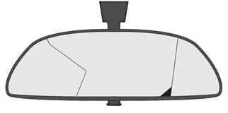 Smashed Rear View Mirror. A smashed car rear view mirror isolated on a white background Stock Photo