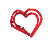 Smashed red heart shaped Stock Photography