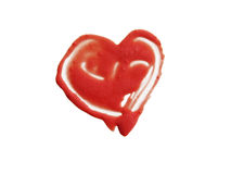 Smashed red heart shaped. Smashed red heart shape isolated on white background Royalty Free Stock Image