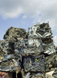 Smashed Stacked Cars. Smashed Compressed Car Blocks Recycling Stock Photo