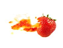 Smashed strawberry isolated Stock Images