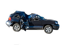 Smashed suv. Blue automobile with roof caved in stock photos