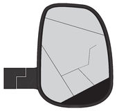 Smashed Truck Side Mirror. A smashed truck or van side mirror isolated on a white background Royalty Free Stock Images
