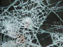 Smashed window glass Royalty Free Stock Images