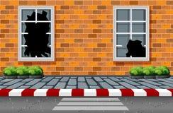 Smashed windows in street scene. Illustration royalty free illustration