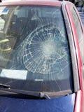 Smashed windscreen. Badly damaged car windscreen cracked and smashed Royalty Free Stock Photography