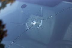 Smashed windscreen Stock Photography