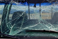 Smashed windshield glass Royalty Free Stock Photo