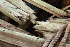 Smashed Wood. The planks of a wooden dock smashed in and broken Stock Images