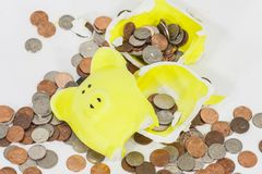 Smashed Yellow Piggy Bank Stock Images