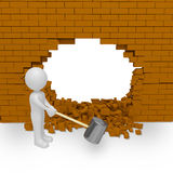 Smashes wall Royalty Free Stock Images