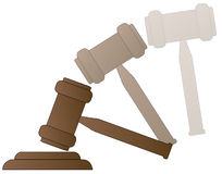 Smashing down gavel. Wood gavel hammer of auctioneer or judge with motion - vector Royalty Free Stock Image